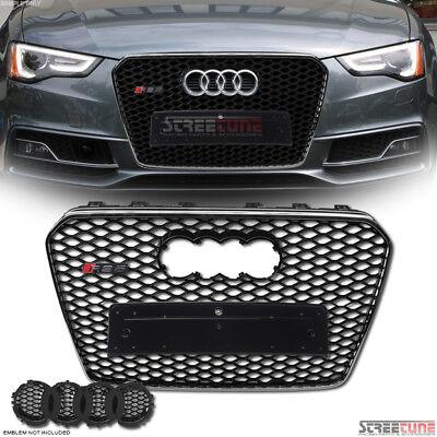 Black Chrome Rs-Honeycomb Mesh Grille+Logo Emblem Base For 13-16 Audi A5 S5 B8.5