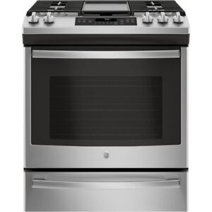 STOVE GE SLIDE-IN GAS SELF CLEAN STAINLESS STEEL OPEN BOX NEW