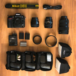 Nikon D810 kit w/ lenses and flash
