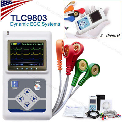 3 Channel 24 Hours Dynamic Ecg System Ekg Holter 12 Leads Recordersoftwareusa