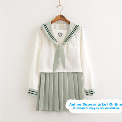 Summer Green Cute Japan School Girl Kawaii Sailor Uniform Costume Cosplay Outfit (Cute School Girl Costume)