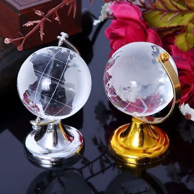 1X Mini Round Earth Globe World Map Crystal clear Stand Desk Decor New
