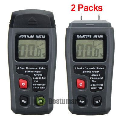 Lot Lcd Display Digital Wood Moisture Meter Humidity Tester Detector 2pins Probe