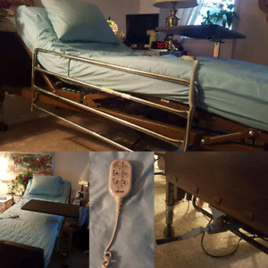 Drive electric bed w/upgraded rails, mattress, cover, table