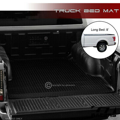 Blk Rubber Diamond Truck Bed Trunk Rug Floor Mat For 2004-2014 F150 8'/96