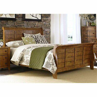 Liberty Furniture Grandpa's Cabin King Sleigh Bed in Aged Oak - Liberty Grandpas Cabin