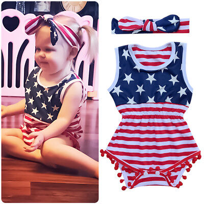 US Flag Stars Strips 4th of July Romper Clothes Outfits for Toddler Baby Girls - Holiday Clothing For Toddlers