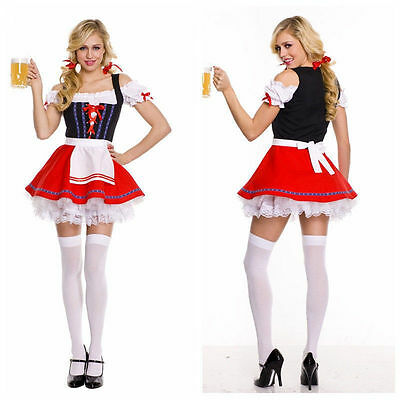 German Bavarian Beer Girl Costume Oktoberfest Canival Fancy Dress