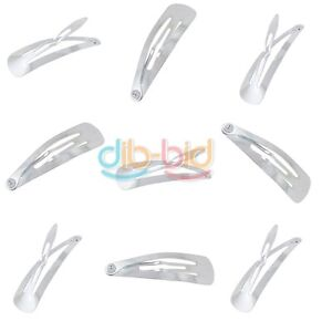 10PCS-Silver-Girl-Hot-Snap-DIY-Hair-Clips-Claw-Barrette-Pin-Bow-New-OZ