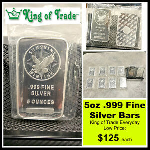 5 ounce .999 Fine Silver Bars for Sale - King of Trade