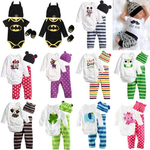 3tlg Baby Romper Overall Jungen Bodysuit Strampler+Hose+Hut Outfits Set Kostüm