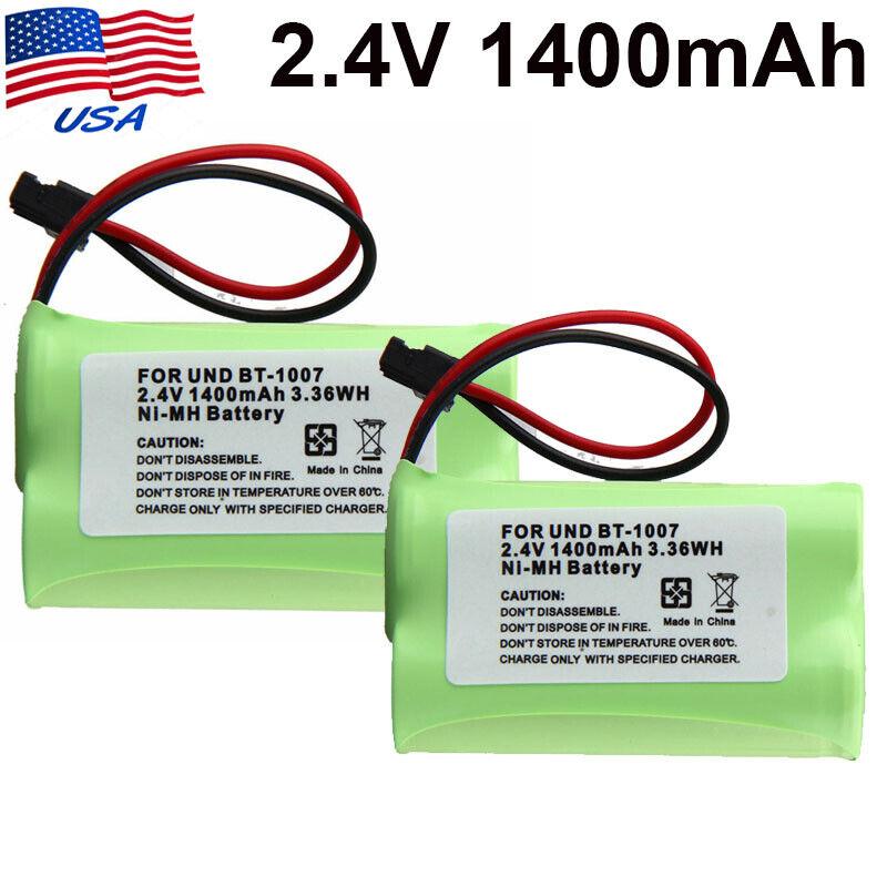 2Pcs 2.4V 1400mAh Phone Battery for Uniden BT1007 BT1015 BATT17 EXP971 ET3543 US