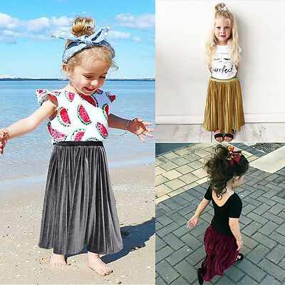 (Kids Baby Girl Pleated Dress Party Princess Long Dress Velvet Tutu Skirt Clothes)