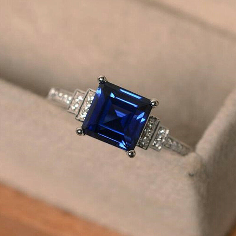 Jewellery - Fashion 925 Silver Rings Women Jewelry Blue Sapphire Wedding Ring Size 6-10