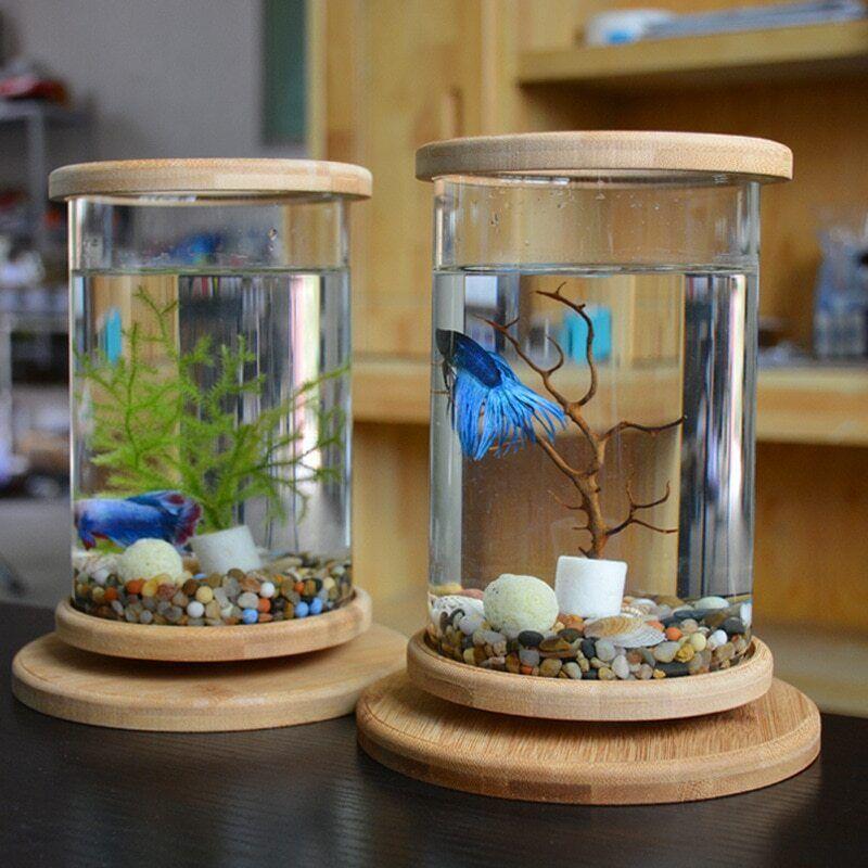 Bamboo Base Fish Tank Aquarium Accessories Mini Fish Tank Home Decoration Glass Ebay