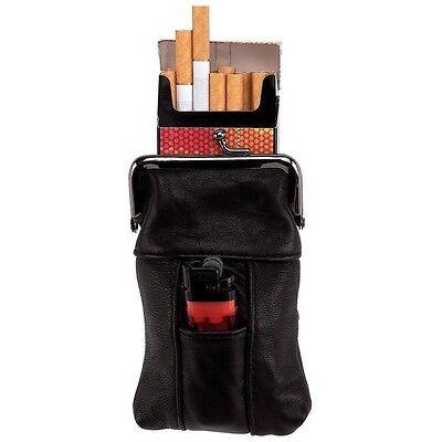BLACK Genuine LEATHER LIGHTER & CIGARETTE CASE Smoke Tobacco Pocket Holder Pouch