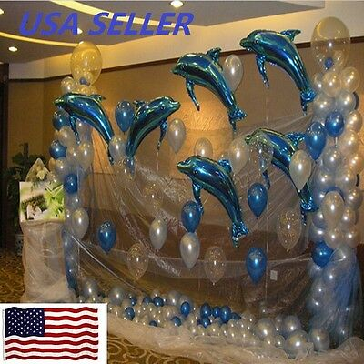 6 pcs Big Size Dolphin Foil Helium Balloon For Birthday Party Wedding Decoration](Dolphin Birthday Party)