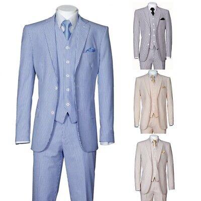 Men's 3 Piece Fashion Striped Seersucker Suit With Vest&Pants Slim Fit 2 Button  - Mens Seersucker Suits