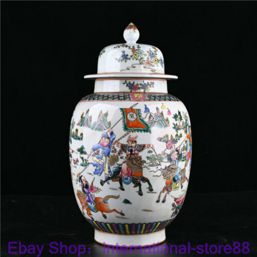 "16.8"" Old Chinese Wucai Porcelain Dynasty Palace General Battle Bottle Tank Jar"