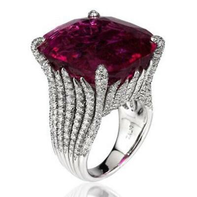 Charm Women Ruby Ring Faux Diamond Rhinestone Rings Wedding Party Jewelry YD