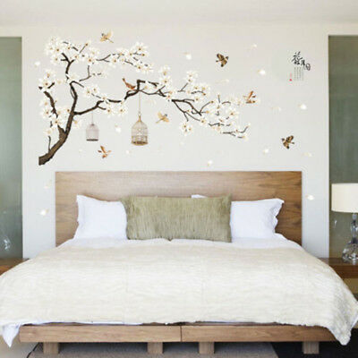 Details zu Wandtattoo Wandsticker Wandaufkleber Blumen Blüten Ast Baum Deko  Wohnzimmer NEU
