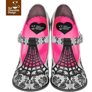 Size 8 Ladies Hot Chocolate Design Spider Web Mary Jane Pumps