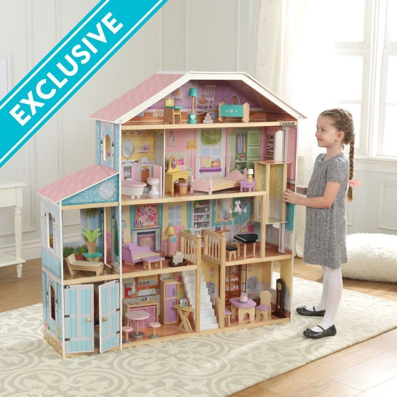 Grand View Mansion Children's Dollhouse 34 Pieces Of