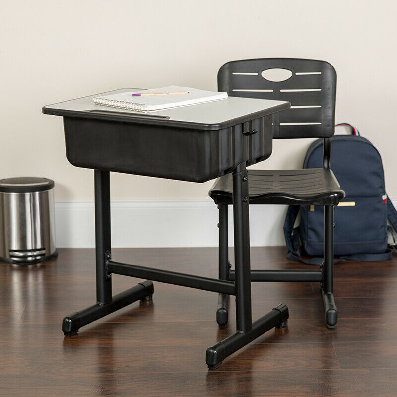 Adjustable Height Student Desk and Chair with Black ...