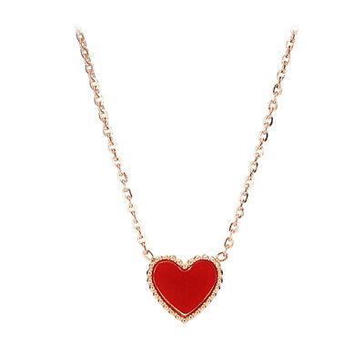 18K Rose Gold Red Heart Enamel Necklace Elegant Titanium Chain Necklace 40cm+5cm 18k Titanium Necklace