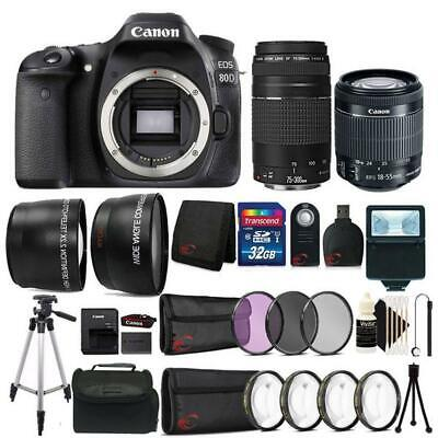 Canon EOS 80D 24.2MP DSLR Camera w/ 18-55mm and 75-300mm Lens & Abettor Kit