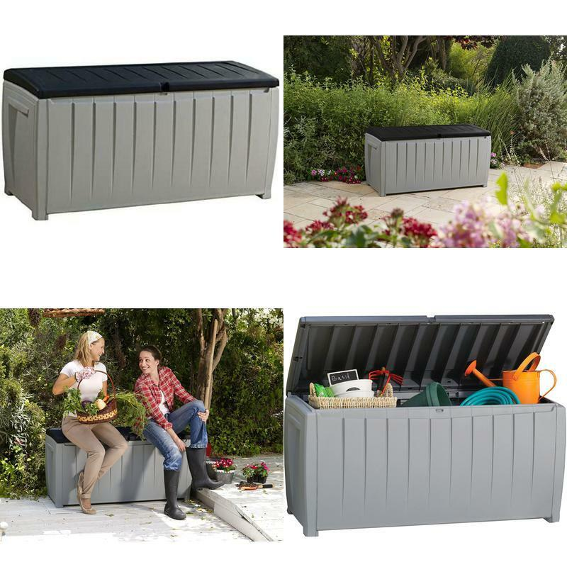 Large Outdoor Storage Box Gray Deck Container Patio Pool Gre