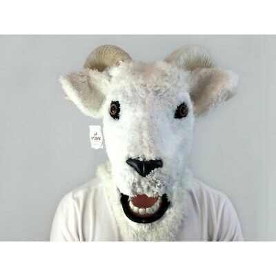 ADULT GOAT RAM SHEEP ANIMAL MOUTH MOVING COSTUME OVER THE HEAD MASK HORNS WHITE](Goat Head Mask)