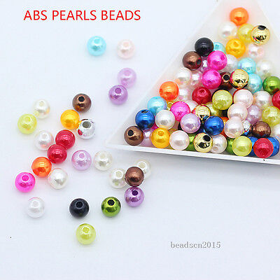 (4/6/8mm Acrylic Ball Round pearl spacer beads jewelry making necklace bracelet)