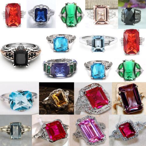 925 Silver Diamond Sapphire Gemstone Colorful Rings Wedding