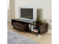 BROWN WOOD TV STAND WITH DRAWER AND SHELF