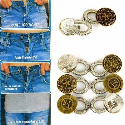 6Pcs Men/Women Jeans Pants Extender Stretch Expanders Button Fix Waist