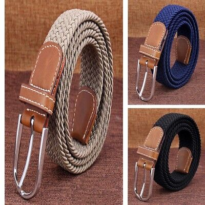 Men's PU Leather Metal Covered Buckle Woven Elastic Stretch Belt Fashion (Cloth Covered Stretch Belt)