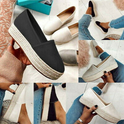 Womens Platform Espadrilles Pumps Ladies Summer Slip On Comfy Loafers Shoes Size