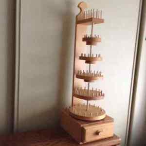 wood thread spool holder