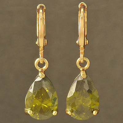New 9K Yellow Gold Filled Olive Green Cz Pear Shaped Tear Drop Dangle Earrings