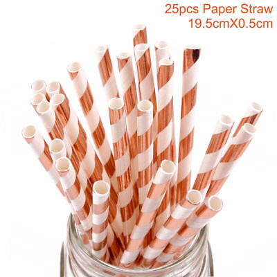 25pcs Rose Gold Stripe Paper Drinking Straws Striped Birthday Party Wedding Gift - Rose Gold Paper