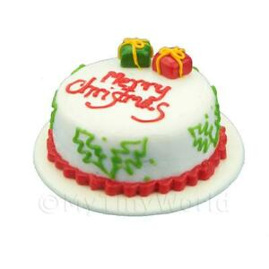 Dolls-House-Miniature-Christmas-Cake-With-Parcels