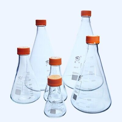 1000mlglass Erlenmeyer Flask With Yellow Plastic Screw Cap Lab Conical Bottle