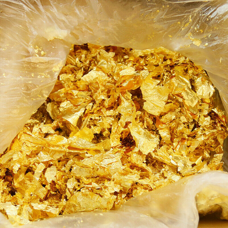 50G Artificial Gold/Sliver Foil Paper Leaf For DIY Nail Flake Art Decor Supplies