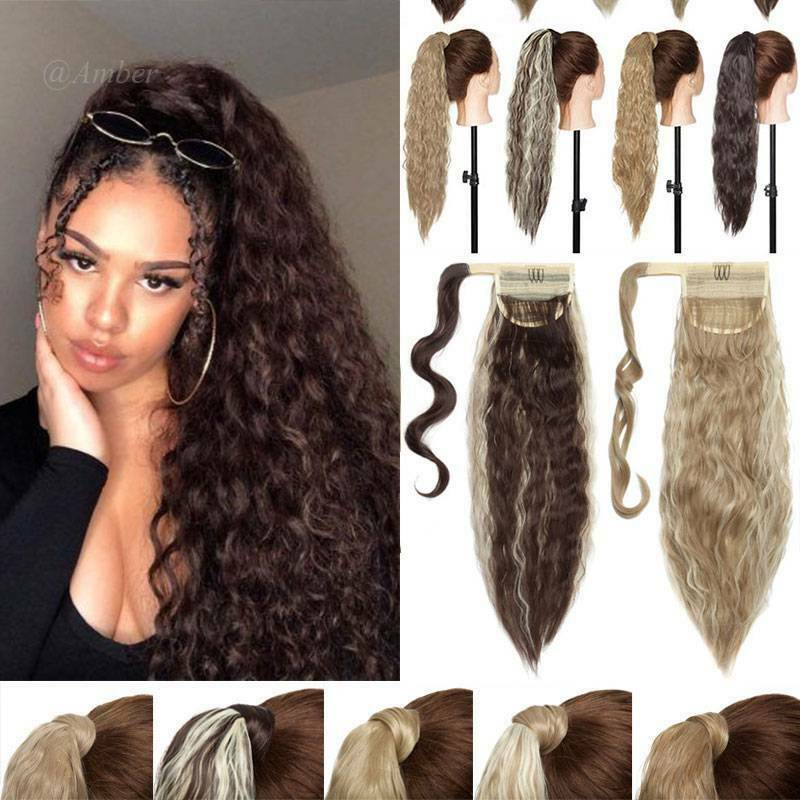 Fluffy Thick Corn Weave Ponytail Hair Extension Real Natural