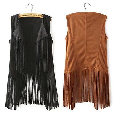 damen velours rmellos fransen weste mantel revers jacke weste ebay. Black Bedroom Furniture Sets. Home Design Ideas