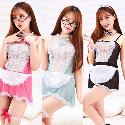 Women Sexy Pink Adult French Maid Lingerie Fancy Dress Outfit Cosplay - French Maids Dresses