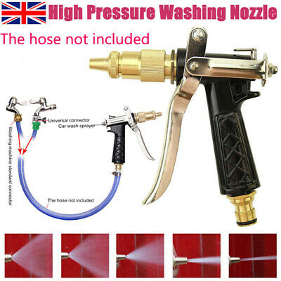 UK High Pressure Water Spray Gun Brass Nozzle Garden Hose Pipe Lawn Car Washing