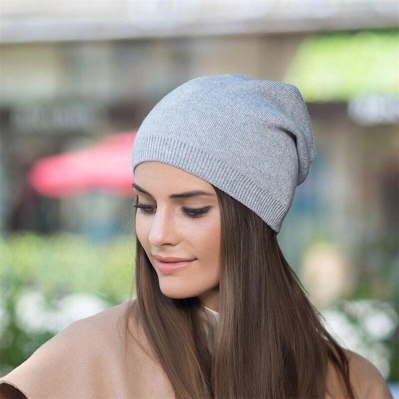 Feinstrick Beanie Mütze Kaschmir Herbst Wintermütze für Damen Herren Long Slouch