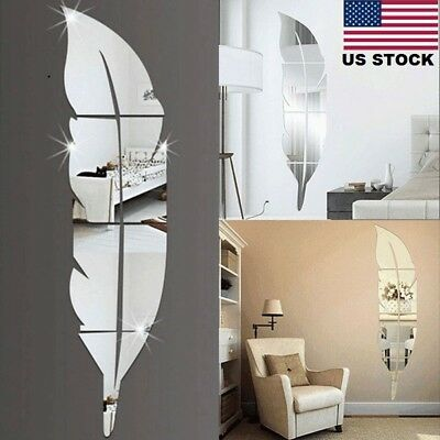 3D Feather Mirror Fold up Sticker Room Decal Mural Art DIY Home Modern Decoration